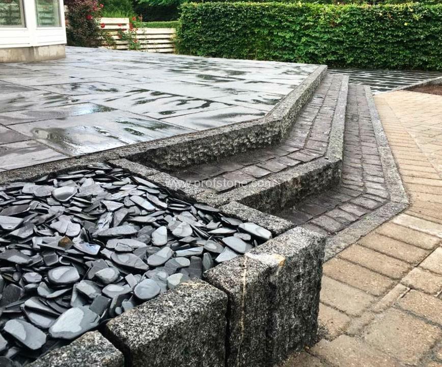 Black slate chips natural stone landscape project for Black granite landscape rock