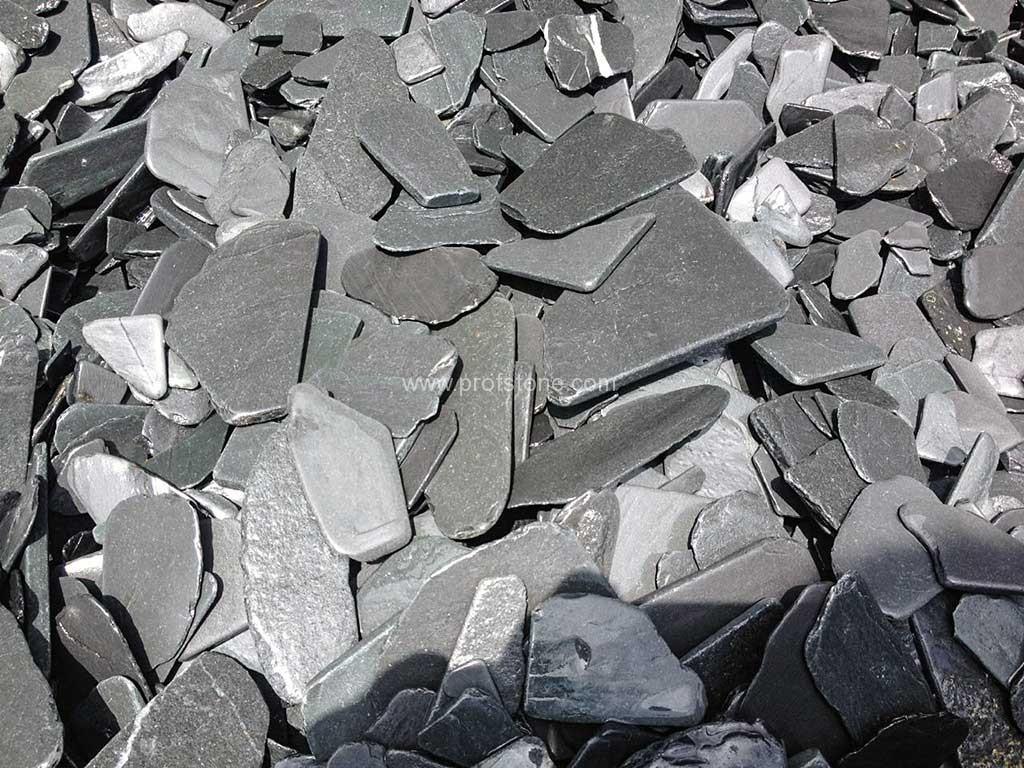 Natural Black Slate : Black slate chips natural stone landscape project